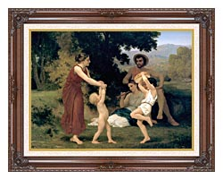 William Bouguereau Pastoral canvas with dark regal wood frame
