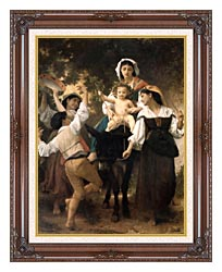 William Bouguereau Return From The Harvest canvas with dark regal wood frame
