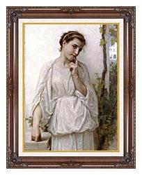 William Bouguereau Revery canvas with dark regal wood frame
