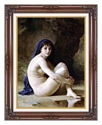 William Bouguereau Seated Nude canvas with dark regal wood frame