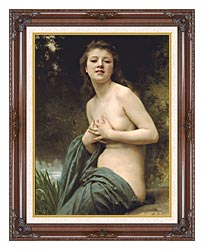 William Bouguereau Spring Breeze canvas with dark regal wood frame