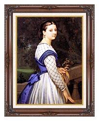 William Bouguereau The Countess De Montholon canvas with dark regal wood frame