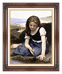 William Bouguereau The Crab canvas with dark regal wood frame