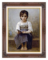 William Bouguereau The Difficult Lesson canvas with dark regal wood frame