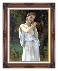 William Bouguereau The Earrings canvas with dark regal wood frame