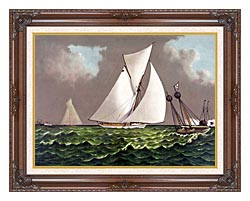 Currier And Ives Sailboats Nearing The Finish Line canvas with dark regal wood frame