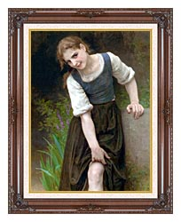 William Bouguereau The Ford canvas with dark regal wood frame
