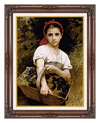 William Bouguereau The Grape Picker canvas with dark regal wood frame
