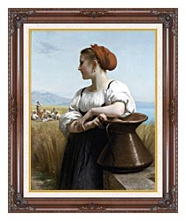 William Bouguereau The Harvester canvas with dark regal wood frame