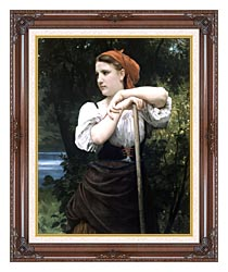 William Bouguereau The Haymaker canvas with dark regal wood frame
