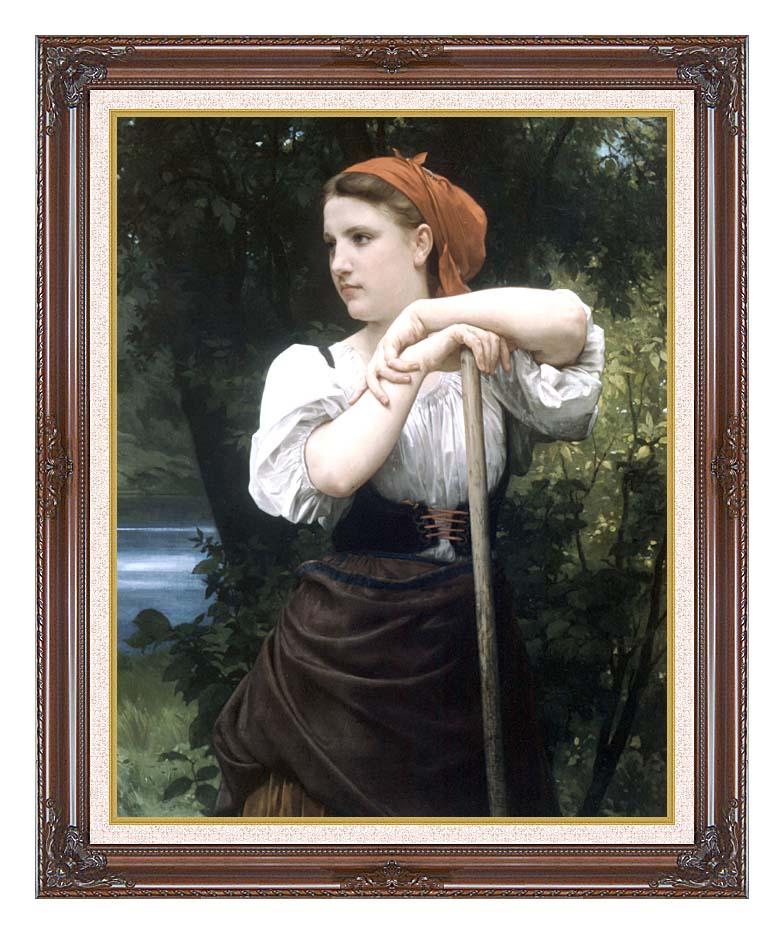William Bouguereau The Haymaker with Dark Regal Frame w/Liner