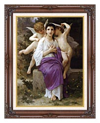 William Bouguereau The Hearts Awakening canvas with dark regal wood frame