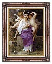 William Bouguereau The Hearts Awakening canvas with dark regal wood frame