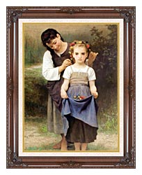 William Bouguereau The Jewel Of The Fields canvas with dark regal wood frame