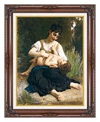 William Bouguereau The Joy Of Motherhood canvas with dark regal wood frame