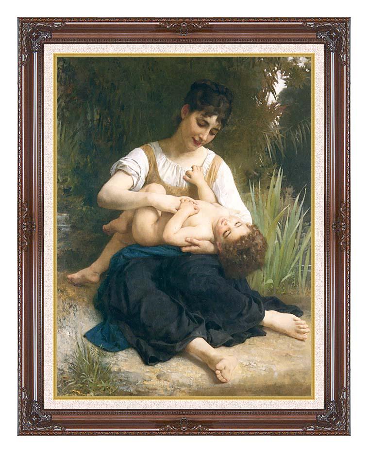 William Bouguereau The Joy of Motherhood with Dark Regal Frame w/Liner