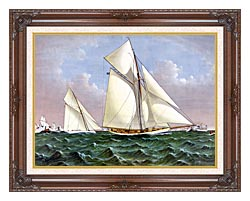 Currier And Ives Mayflower Saluted By The Fleet canvas with dark regal wood frame