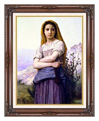 William Bouguereau The Knitter canvas with dark regal wood frame