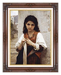 William Bouguereau Young Girl Knitting canvas with dark regal wood frame