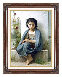 William Bouguereau The Little Knitter canvas with dark regal wood frame