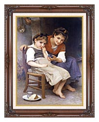 William Bouguereau The Little Sulk canvas with dark regal wood frame