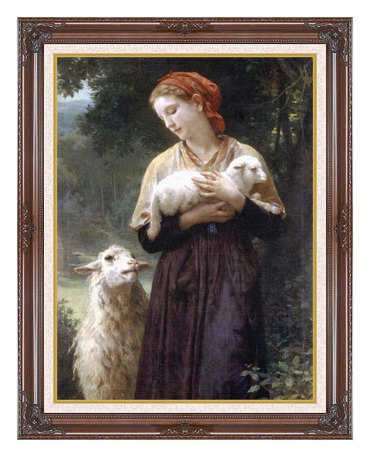 William Bouguereau The Shepardess with Dark Regal Frame w/Liner