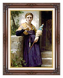 William Bouguereau The Spinner canvas with dark regal wood frame