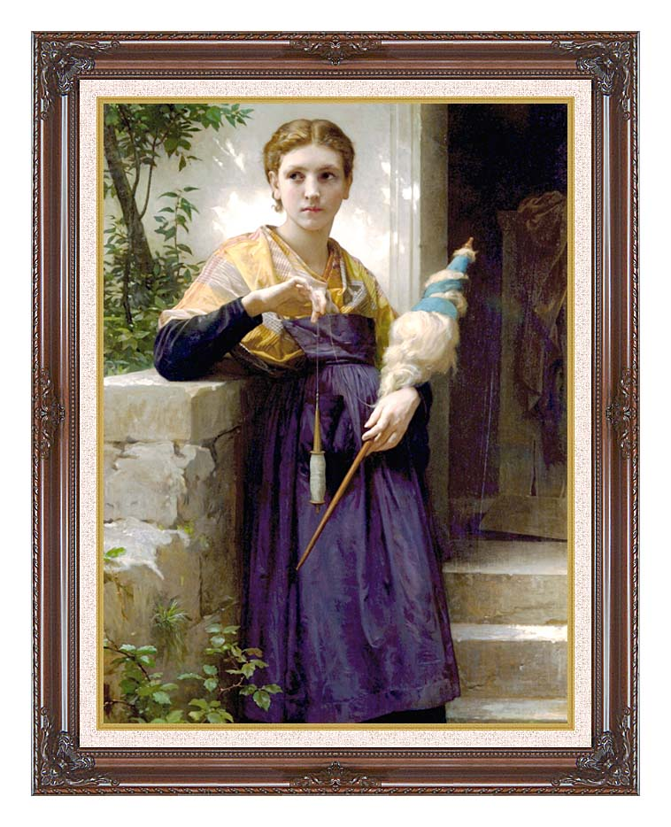 William Bouguereau The Spinner with Dark Regal Frame w/Liner