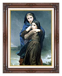 William Bouguereau The Storm canvas with dark regal wood frame