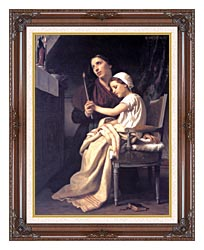 William Bouguereau The Thank Offering canvas with dark regal wood frame
