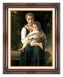 William Bouguereau The Two Sisters canvas with dark regal wood frame