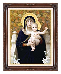 William Bouguereau The Virgin Of The Lilies canvas with dark regal wood frame