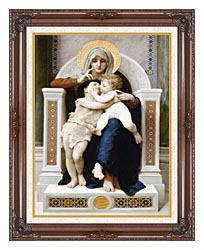 William Bouguereau The Virgin Baby Jesus And Saint John The Baptist canvas with dark regal wood frame