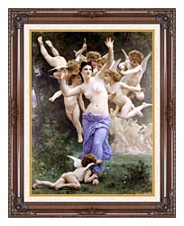 William Bouguereau The Wasps Nest canvas with dark regal wood frame