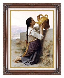 William Bouguereau Thirst canvas with dark regal wood frame