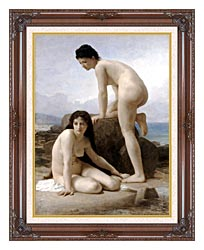William Bouguereau Two Bathers canvas with dark regal wood frame