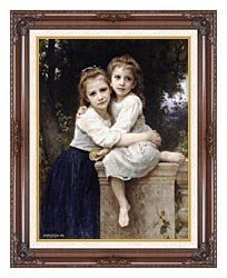William Bouguereau Two Sisters canvas with dark regal wood frame