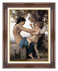 William Bouguereau Young Girl Defending Herself Against Love canvas with dark regal wood frame