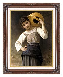 William Bouguereau Young Girl Going To The Fountain canvas with dark regal wood frame