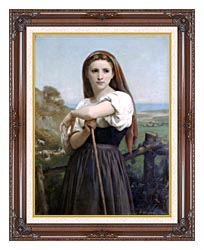 William Bouguereau Young Shepherdess canvas with dark regal wood frame