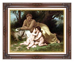 William Bouguereau Young Woman And Children Embracing canvas with dark regal wood frame