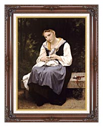 William Bouguereau Young Worker canvas with dark regal wood frame