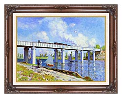 Claude Monet The Railroad Bridge Argenteuil canvas with dark regal wood frame