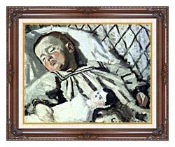 Claude Monet The Artists Son Asleep canvas with dark regal wood frame