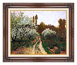 Claude Monet Flowering Apple Trees canvas with dark regal wood frame