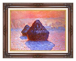 Claude Monet Haystacks Snow Effect canvas with dark regal wood frame