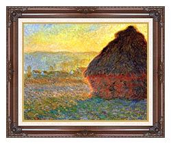 Claude Monet Haystack At Sunset Near Giverny canvas with dark regal wood frame