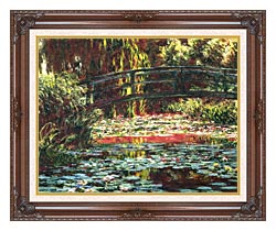 Claude Monet Japanese Foot Bridge At Giverny canvas with dark regal wood frame