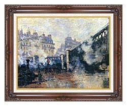 Claude Monet Le Pont De Leurope 1877 canvas with dark regal wood frame