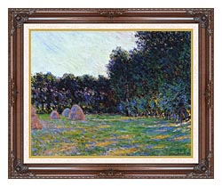 Claude Monet Meadow With Haystacks Near Giverny canvas with dark regal wood frame